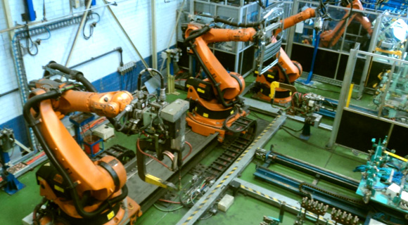 36 axis robotic assembly cell